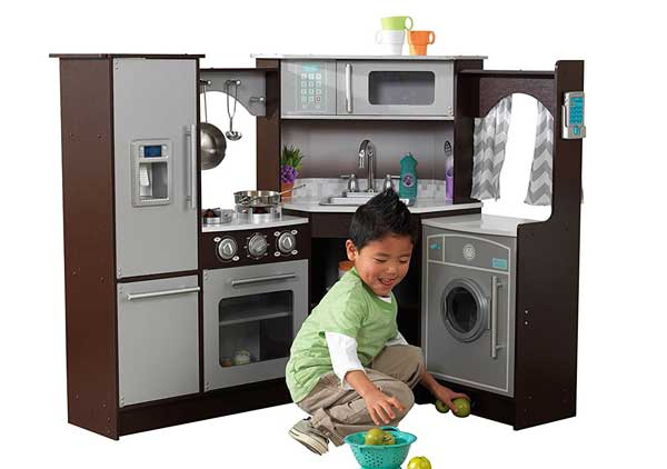 KidKraft Ultimate Corner Play Kitchen with Lights & Sounds, Brown/White
