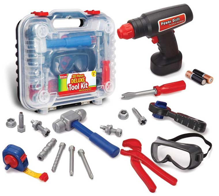 Durable Kids Tool Set with Electronic Cordless Drill and 18 Pretend Play Construction Accessories