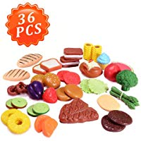 24Pcs Cutting Food - Pretend Food Set, Kitchen Toy Food Fun Cutting Fruits and Veggies with Pizza Playset for Kids