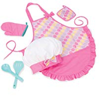 Chef Hat and Matching Pink Apron with Toy Cooking & Baking Accessories
