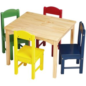Kids Wood Table and Assorted Color Chairs